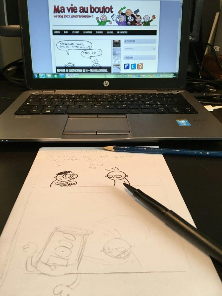 """Dessin en cours pour son blog """"Ma vie au boulot"""""""